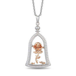Enchanted Disney Belle 1/5 CT. T.W. Diamond Rose in Dome Pendant in Sterling Silver and 10K Rose Gold - 19""
