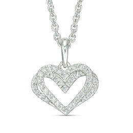 The Kindred Heart from Vera Wang Love Collection 1/10 CT. T.W. Diamond Mini Pendant in Sterling Silver - 19""