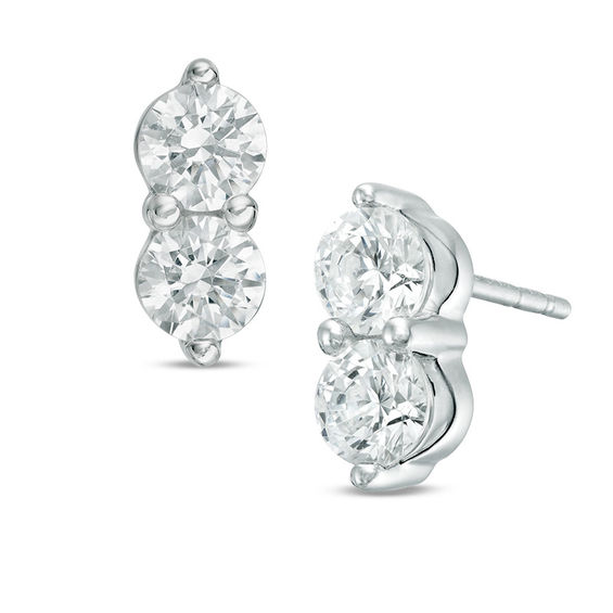 T W Two Stone Diamond Stud Earrings In 14k White