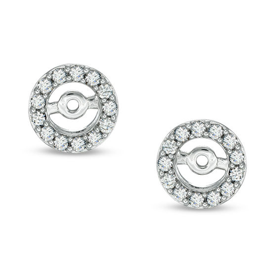 T W Diamond Frame Earring Jackets In 14k White Gold