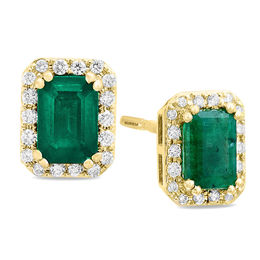 EFFY™ Collection Emerald-Cut Emerald and 1/5 CT. T.W. Diamond Frame Stud Earrings in 14K Gold