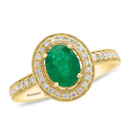 EFFY™ Collection Oval Emerald and 3/8 CT. T.W. Diamond Frame Vintage-Style Ring in 14K Gold
