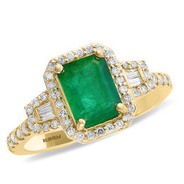 EFFY™ Collection Emerald-Cut Emerald and 1/3 CT. T.W. Diamond Ring in 14K Gold