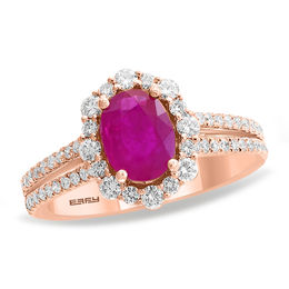 EFFY™ Collection Oval Ruby and 3/4 CT. T.W. Diamond Frame Double Row Vintage-Style Ring in 14K Rose Gold