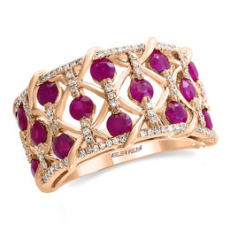 EFFY™ Collection Ruby and 1/3 CT. T.W. Diamond Woven Ring in 14K Rose Gold