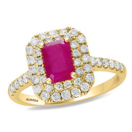 EFFY™ Collection Emerald-Cut Ruby and 5/8 CT. T.W. Diamond Double Frame Ring in 14K Gold