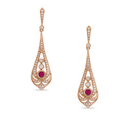 EFFY™ Collection 3.0mm Ruby and 3/8 CT. T.W. Diamond Vintage-Style Pendulum Drop Earrings in 14K Rose Gold