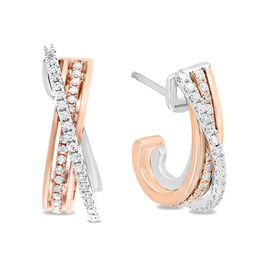 EFFY™ Collection 3/8 CT. T.W. Diamond Criss-Cross J-Hoop Earrings in 14K Two-Tone Gold