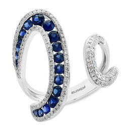 EFFY™ Collection Blue Sapphire and 3/8 CT. T.W. Diamond Open Shank Wrap Ring in 14K White Gold