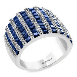 EFFY™ Collection Princess-Cut Blue Sapphire and 1/2 CT. T.W. Diamond Ring in 14K White Gold