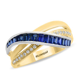 EFFY™ Collection Baguette Blue Sapphire and 1/15 CT. T.W. Diamond Crossover Ring in 14K Two-Tone Gold