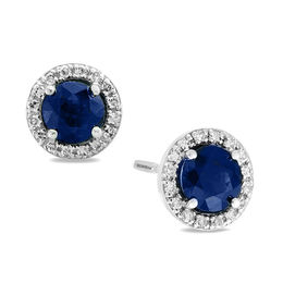 EFFY™ Collection 5.0mm Blue Sapphire and 1/8 CT. T.W. Diamond Frame Stud Earrings in 14K White Gold