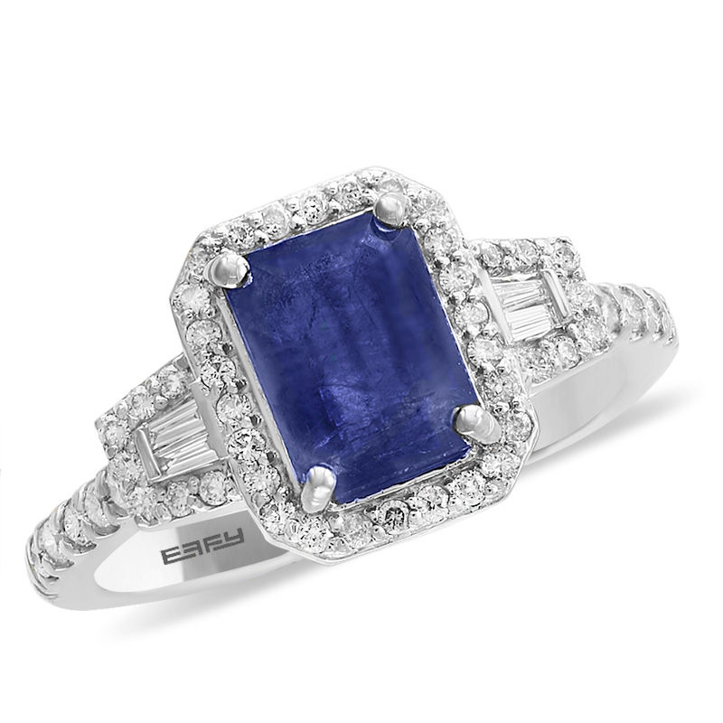 sapphire in white ct sunburst tw carat diamond gold ring