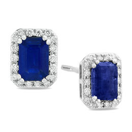 EFFY™ Collection Emerald-Cut Blue Sapphire and 1/5 CT. T.W. Diamond Frame Stud Earrings in 14K White Gold