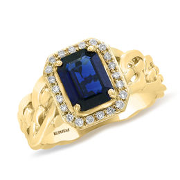 EFFY™ Collection Emerald-Cut Blue Sapphire and 1/5 CT. T.W. Diamond Frame Braid Ring in 14K Gold