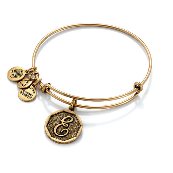 Alex And Ani Initial E Charm Bangle In Gold Tone Br