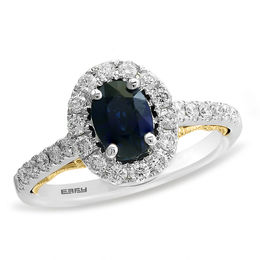 EFFY™ Collection Oval Blue Sapphire and 1/2 CT. T.W. Diamond Frame Vintage-Style Ring in 14K Two-Tone Gold