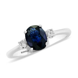 EFFY™ Collection Oval Blue Sapphire and 1/6 CT. T.W. Diamond Ring in 14K White Gold