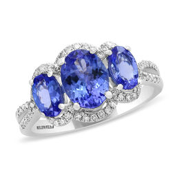 EFFY™ Collection Oval Tanzanite and 1/4 CT. T.W. Diamond Frame Three Stone Ring in 14K White Gold