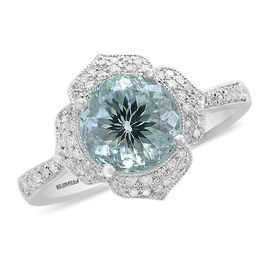 EFFY™ Collection 8.0mm Aquamarine and 1/5 CT. T.W. Diamond Floral Frame Vintage-Style Ring in 14K White Gold