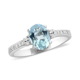 EFFY™ Collection Oval Aquamarine and 1/8 CT. T.W. Diamond Ring in 14K White Gold