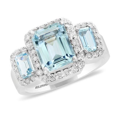 c6e6c789f7f329 ... EFFY™ Collection Emerald-Cut Aquamarine and 3/8 CT. T.W. Diamond Frame
