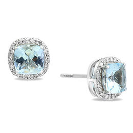 EFFY™ Collection 6.0mm Cushion-Cut Aquamarine and 1/6 CT. T.W. Diamond Frame Stud Earrings in 14K White Gold
