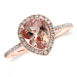 EFFY™ Collection Pear-Shaped Morganite and 1/5 CT. T.W. Diamond Frame Ring in 14K Rose Gold