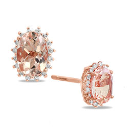 EFFY™ Collection Oval Morganite and 1/8 CT. T.W. Diamond Sunburst Frame Stud Earrings in 14K Rose Gold