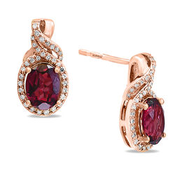 EFFY™ Collection Oval Rhodolite and 1/4 CT. T.W. Diamond Twist Frame Drop Earrings in 14K Rose Gold