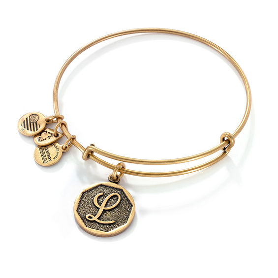 Alex And Ani Initial L Charm Bangle In Gold Tone Br
