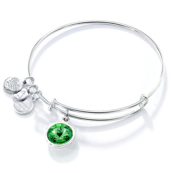 Alex And Ani Green Crystal August Birthstone Charm Bangle In Br With Silver Electroplate
