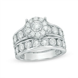 1 CT. T.W. Diamond Frame Bridal Set in 10K White Gold