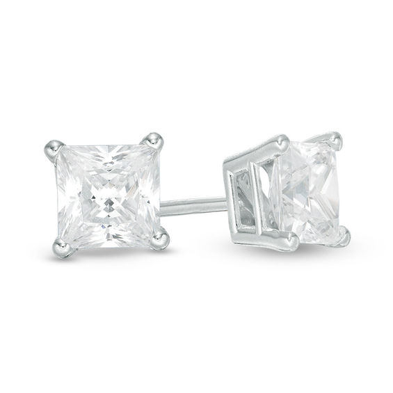 1 Ct T W Princess Cut Diamond Solitaire Stud Earrings In 14k White Gold Zales Outlet