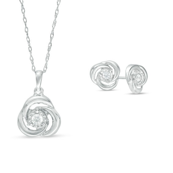 T W Diamond Knot Pendant And Stud Earrings Set In 10k White