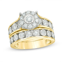 1 CT. T.W. Diamond Frame Bridal Set in 10K Gold