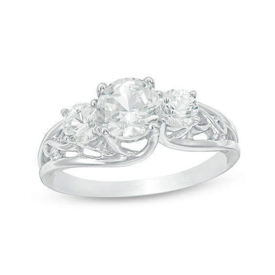 Zales 4.0mm Lab-Created White Sapphire and Diamond Accent Bypass Ring in Sterling Silver UCm6obrWj