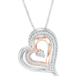 Zales Unstoppable Love 1/20 CT. T.w. Diamond Triple Heart Locket in Sterling Silver