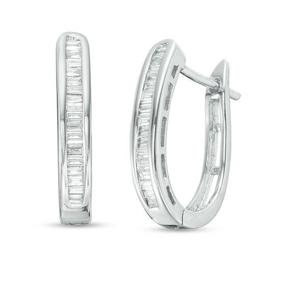 T W Baguette Diamond Hoop Earrings In 10k White Gold