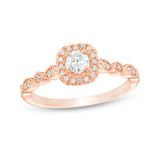 3/8 CT. T.W. Diamond Cushion Frame Vintage,Style Engagement Ring in 14K  Rose Gold