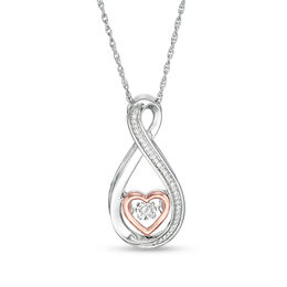 Unstoppable Love™ 1/20 CT. T.W. Diamond Heart Infinity Pendant in Sterling Silver and 10K Rose Gold