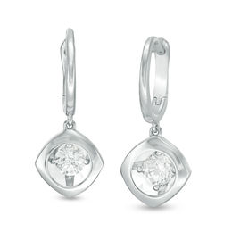 Magnificence™ 1/6 CT. T.W. Diamond Solitaire Tilted Cushion Frame Drop Earrings in 10K White Gold