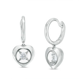 Magnificence™ 1/6 CT. T.W. Diamond Solitaire Heart Frame Drop Earrings in 10K White Gold