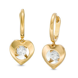Magnificence™ 1/6 CT. T.W. Diamond Solitaire Heart Frame Drop Earrings in 10K Gold