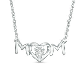 "1/15 CT. Diamond Solitaire ""MOM"" Heart-Shaped Necklace in Sterling Silver"