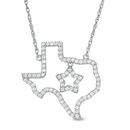 Lab-Created White Sapphire Texas with Star Necklace in Sterling Silver