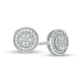 583367796 Men's 1/6 CT. T.W. Diamond Composite Double Frame Stud Earrings in Sterling  Silver