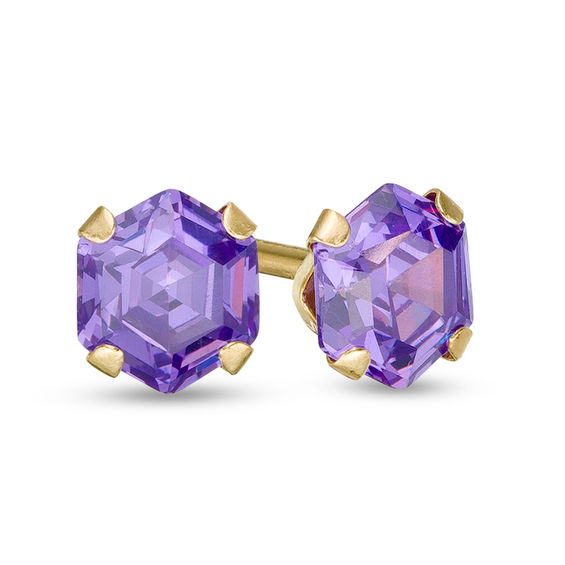 Child S 4 0mm Hexagonal Purple Cubic Zirconia Solitaire Stud Earrings In 14k Gold