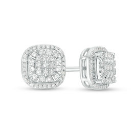 645614c58 1/3 CT. T.W. Composite Diamond Double Cushion Frame Stud Earrings in 10K  White