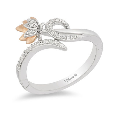 5bbfb0c74 ... Enchanted Disney Jasmine 1/10 CT. T.W. Diamond Lotus Bypass Wrap Ring  in Sterling